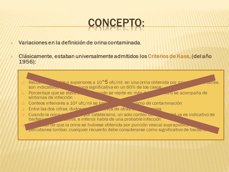 Variaciones en la definición de orina contaminada. Clásicamente, estaban universalmente admitidos los Criterios de Kass, (del año 1956): Recuentos igu