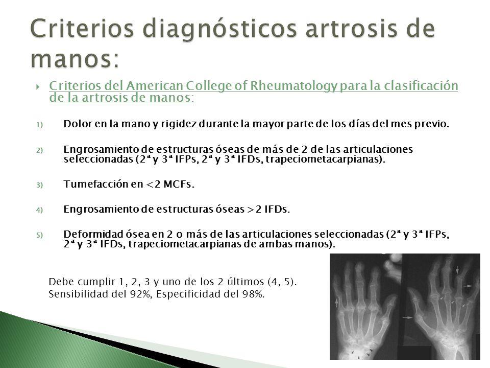 Criterios del American College of Rheumatology para la clasificación de la artrosis de manos: 1) Dolor en la mano y rigidez durante la mayor parte de