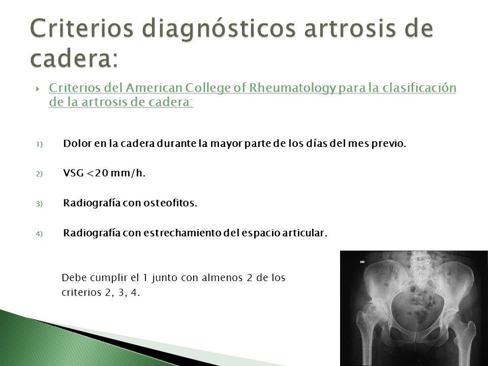 Criterios del American College of Rheumatology para la clasificación de la artrosis de cadera: 1) Dolor en la cadera durante la mayor parte de los día