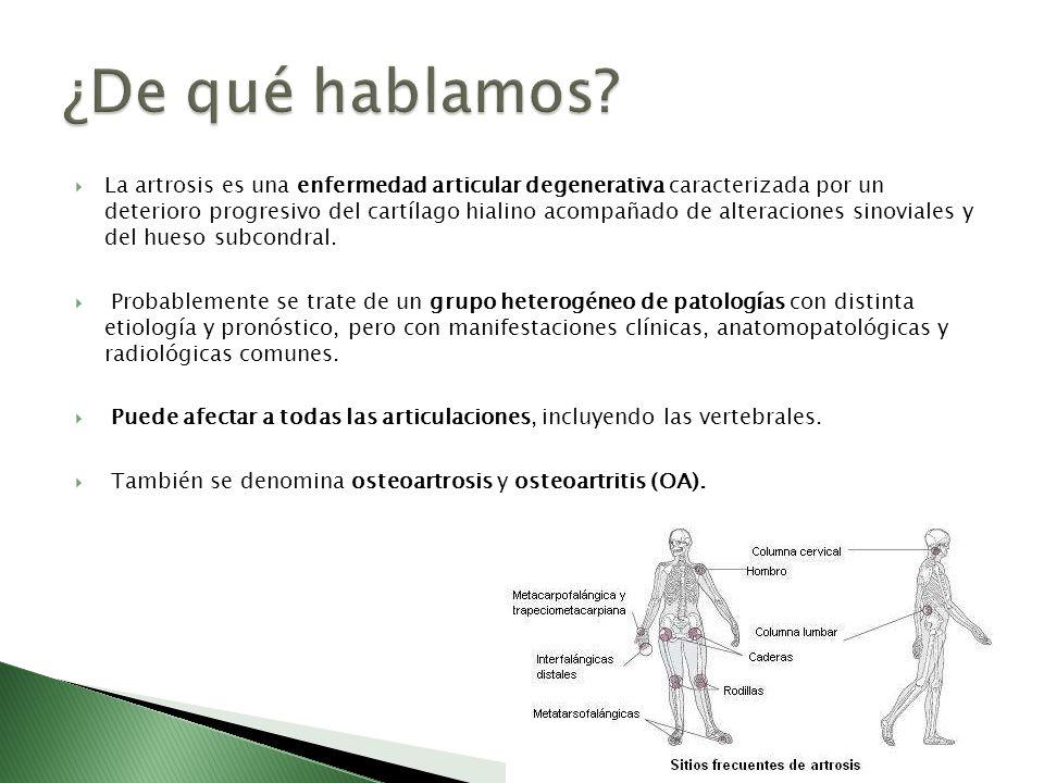 La artrosis es una enfermedad articular degenerativa caracterizada por un deterioro progresivo del cartílago hialino acompañado de alteraciones sinovi