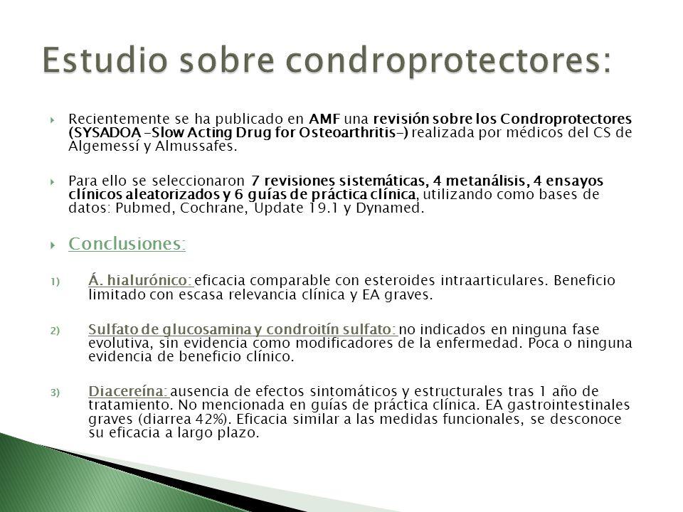 Recientemente se ha publicado en AMF una revisión sobre los Condroprotectores (SYSADOA –Slow Acting Drug for Osteoarthritis-) realizada por médicos de