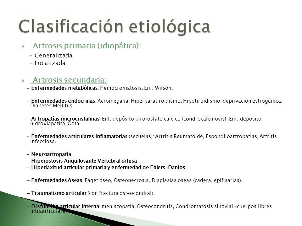 Artrosis primaria (idiopática): - Generalizada - Localizada Artrosis secundaria: - Enfermedades metabólicas: Hemocromatosis, Enf. Wilson. - Enfermedad