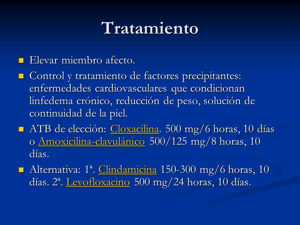 Tratamiento Elevar miembro afecto. Elevar miembro afecto. Control y tratamiento de factores precipitantes: enfermedades cardiovasculares que condicion