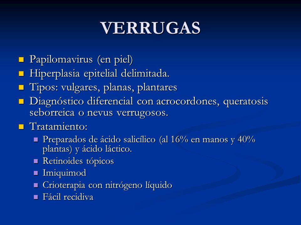 VERRUGAS Papilomavirus (en piel) Papilomavirus (en piel) Hiperplasia epitelial delimitada. Hiperplasia epitelial delimitada. Tipos: vulgares, planas,