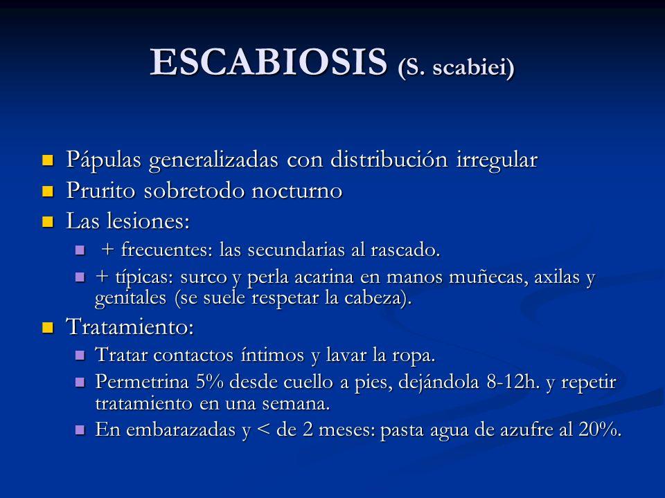 ESCABIOSIS (S. scabiei) Pápulas generalizadas con distribución irregular Pápulas generalizadas con distribución irregular Prurito sobretodo nocturno P