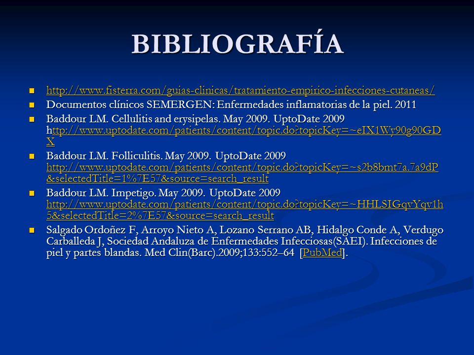 BIBLIOGRAFÍA http://www.fisterra.com/guias-clinicas/tratamiento-empirico-infecciones-cutaneas/ http://www.fisterra.com/guias-clinicas/tratamiento-empi