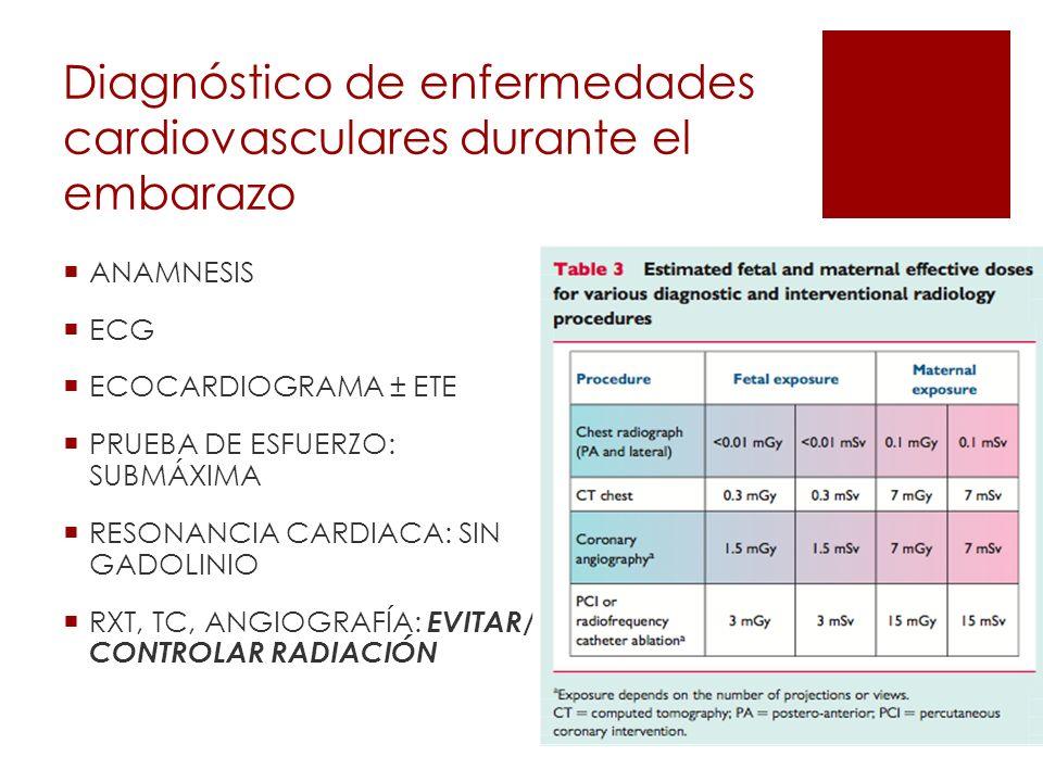 Diagnóstico de enfermedades cardiovasculares durante el embarazo ANAMNESIS ECG ECOCARDIOGRAMA ± ETE PRUEBA DE ESFUERZO: SUBMÁXIMA RESONANCIA CARDIACA: