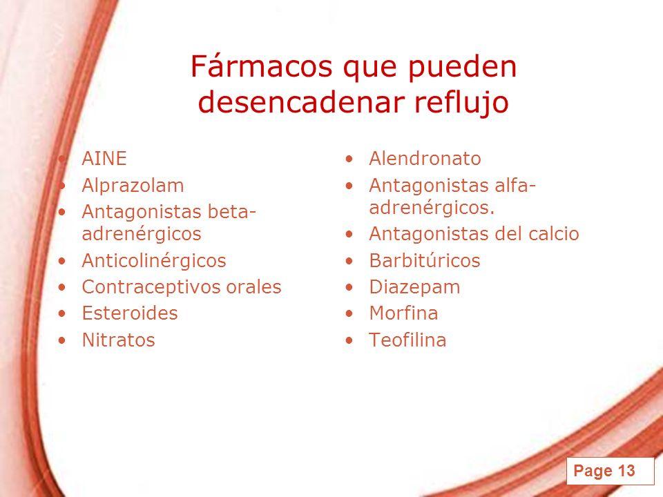 Page 13 Fármacos que pueden desencadenar reflujo AINE Alprazolam Antagonistas beta- adrenérgicos Anticolinérgicos Contraceptivos orales Esteroides Nit
