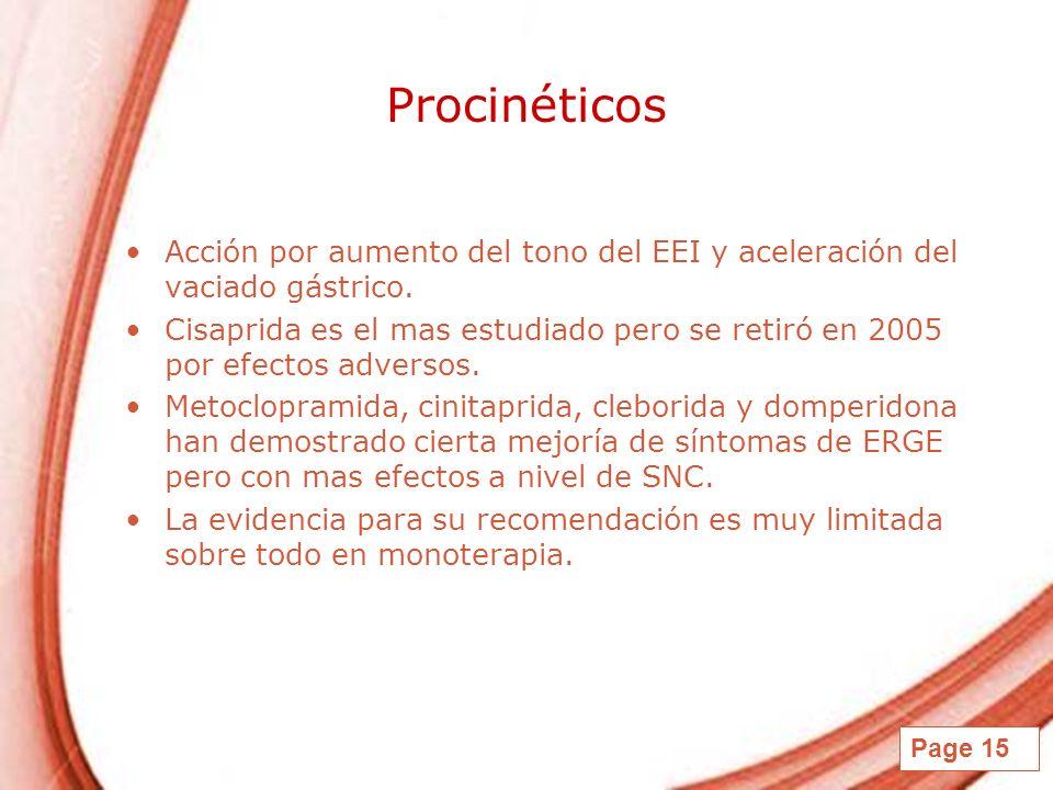 Page 15 Procinéticos Acción por aumento del tono del EEI y aceleración del vaciado gástrico. Cisaprida es el mas estudiado pero se retiró en 2005 por