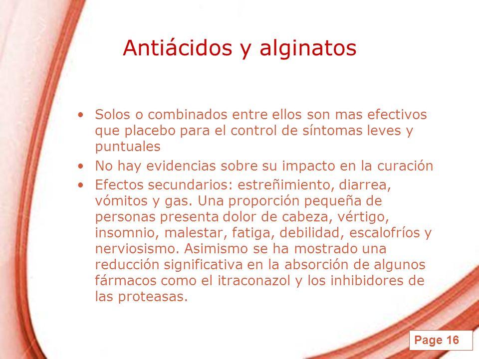 Page 16 Antiácidos y alginatos Solos o combinados entre ellos son mas efectivos que placebo para el control de síntomas leves y puntuales No hay evide