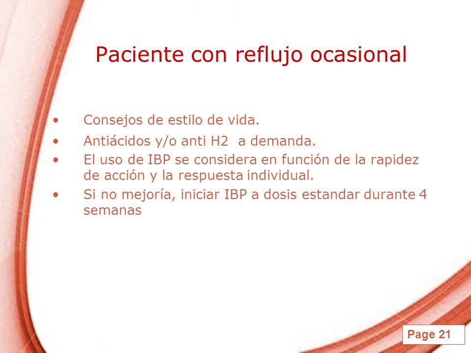 Page 21 Paciente con reflujo ocasional Consejos de estilo de vida. Antiácidos y/o anti H2 a demanda. El uso de IBP se considera en función de la rapid