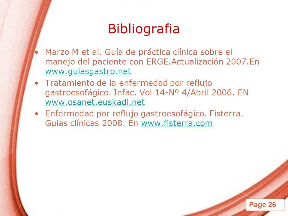 Page 26 Bibliografia Marzo M et al. Guía de práctica clínica sobre el manejo del paciente con ERGE.Actualización 2007.En www.guiasgastro.net www.guias