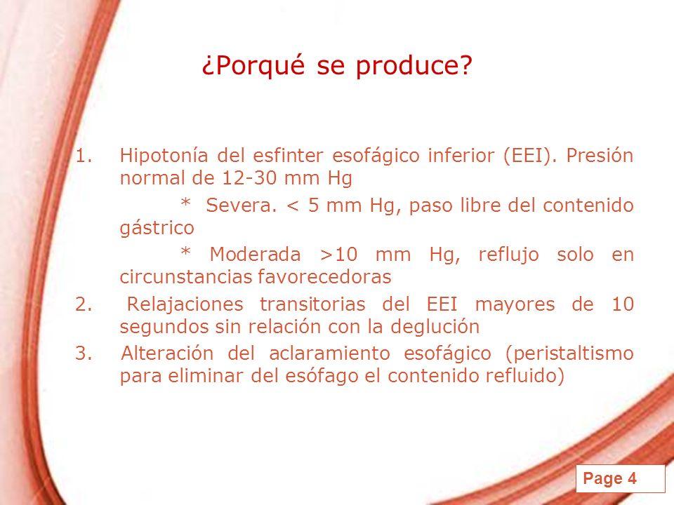 Page 4 ¿Porqué se produce? 1.Hipotonía del esfinter esofágico inferior (EEI). Presión normal de 12-30 mm Hg * Severa. < 5 mm Hg, paso libre del conten