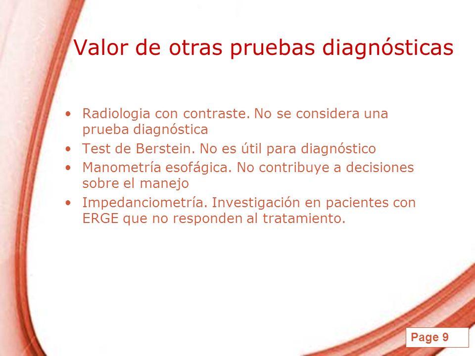 Page 9 Valor de otras pruebas diagnósticas Radiologia con contraste. No se considera una prueba diagnóstica Test de Berstein. No es útil para diagnóst