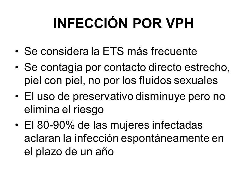 INFECCIÓN POR VPH En las que queda infección persistente > 10 años: lesiones precancerosas > 20 años: carcinoma in situ