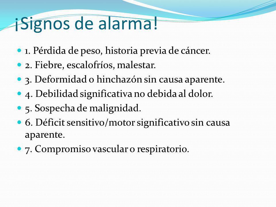 ¡Signos de alarma.1. Pérdida de peso, historia previa de cáncer.