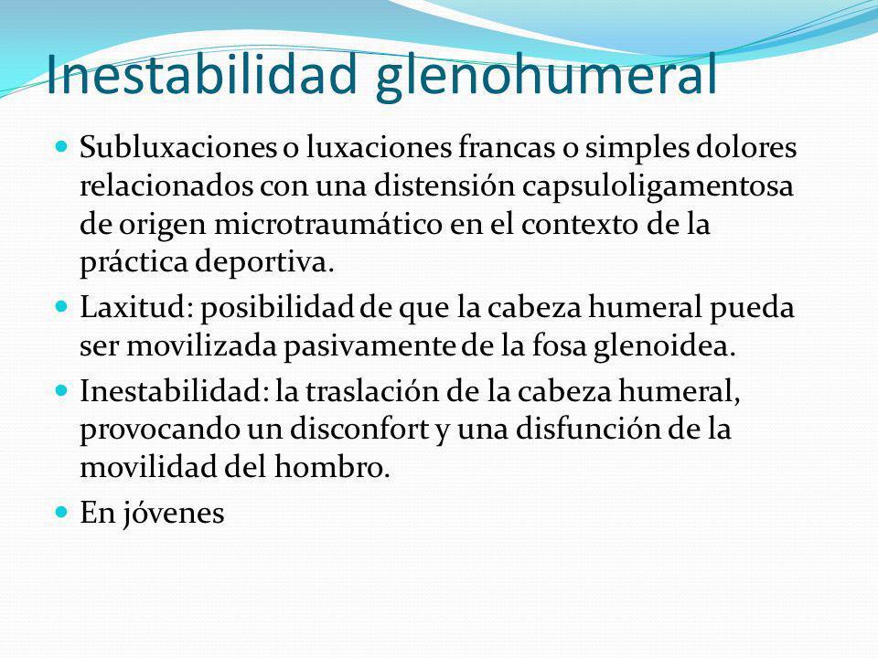 Inestabilidad glenohumeral Subluxaciones o luxaciones francas o simples dolores relacionados con una distensión capsuloligamentosa de origen microtraumático en el contexto de la práctica deportiva.