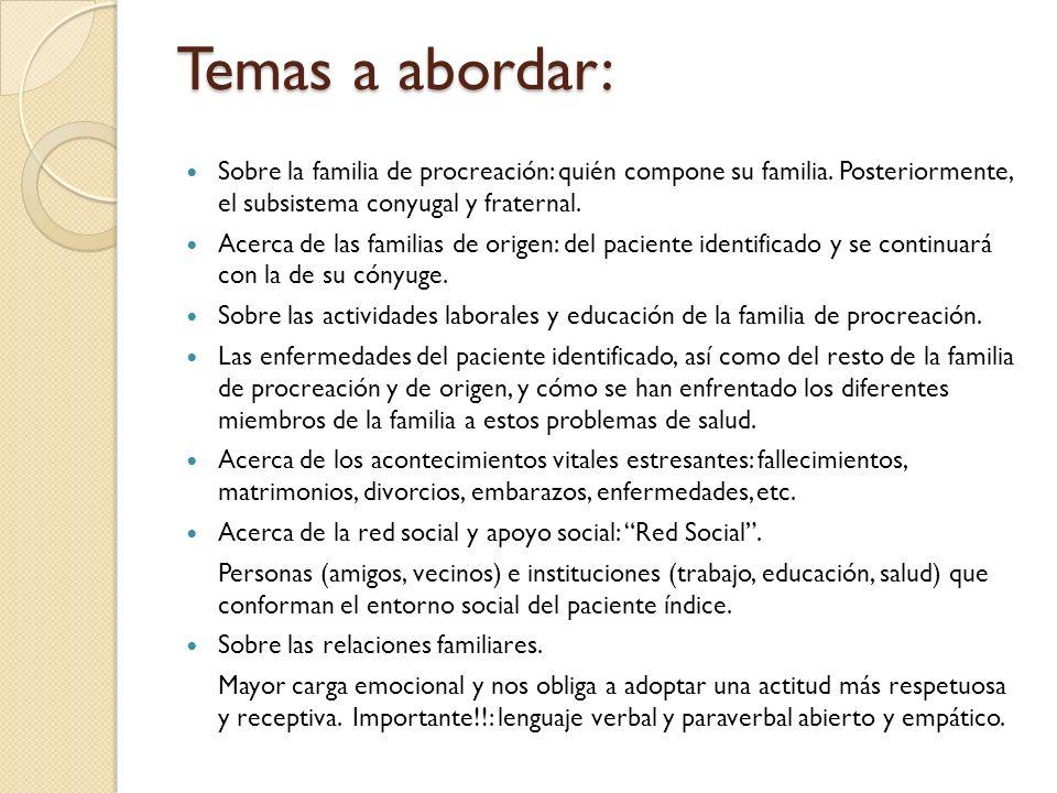 Temas a abordar: Sobre la familia de procreación: quién compone su familia. Posteriormente, el subsistema conyugal y fraternal. Acerca de las familias