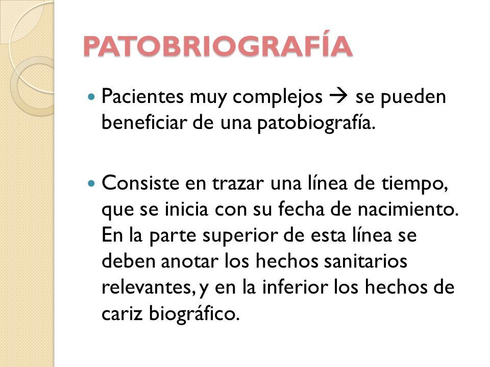 PATOBRIOGRAFÍA Pacientes muy complejos se pueden beneficiar de una patobiografía. Consiste en trazar una línea de tiempo, que se inicia con su fecha d