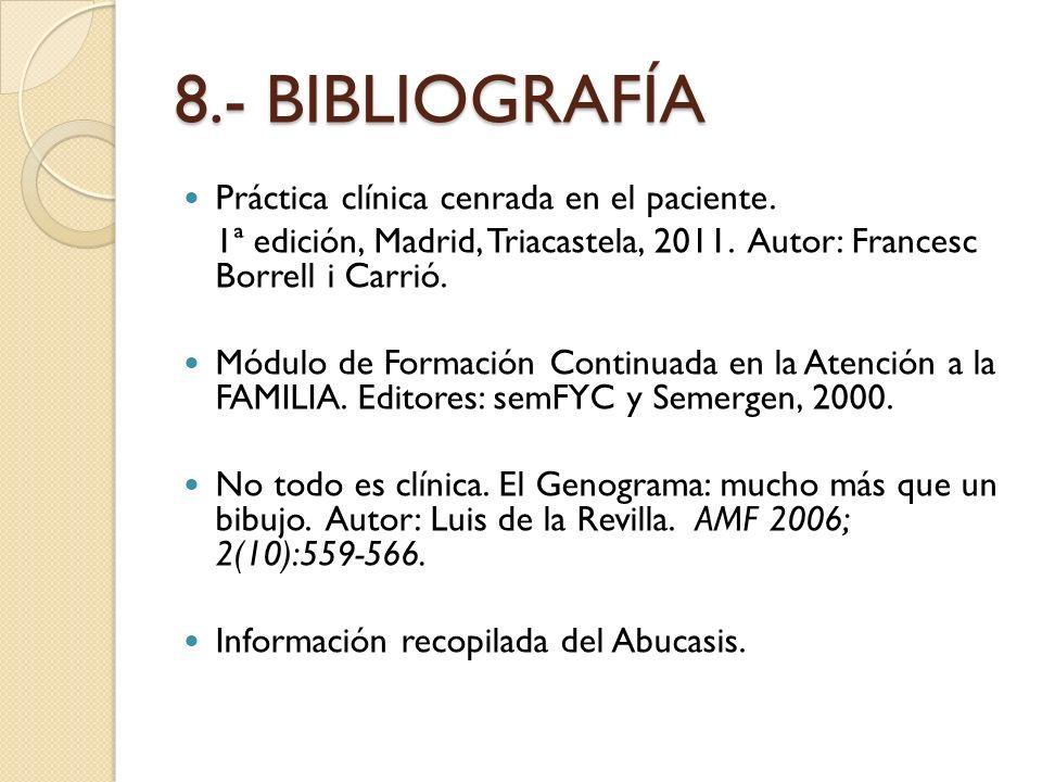 8.- BIBLIOGRAFÍA Práctica clínica cenrada en el paciente. 1ª edición, Madrid, Triacastela, 2011. Autor: Francesc Borrell i Carrió. Módulo de Formación
