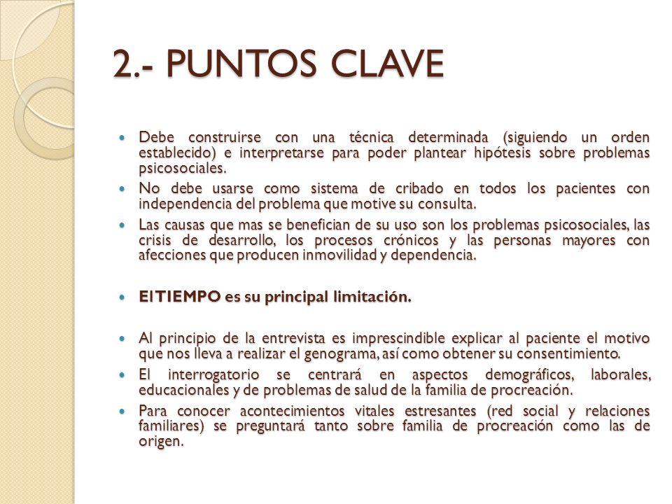 2.- PUNTOS CLAVE Debe construirse con una técnica determinada (siguiendo un orden establecido) e interpretarse para poder plantear hipótesis sobre pro