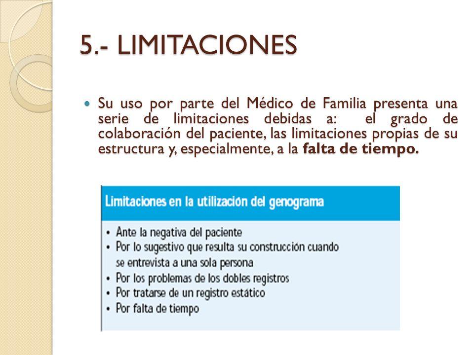 5.- LIMITACIONES Su uso por parte del Médico de Familia presenta una serie de limitaciones debidas a: el grado de colaboración del paciente, las limit