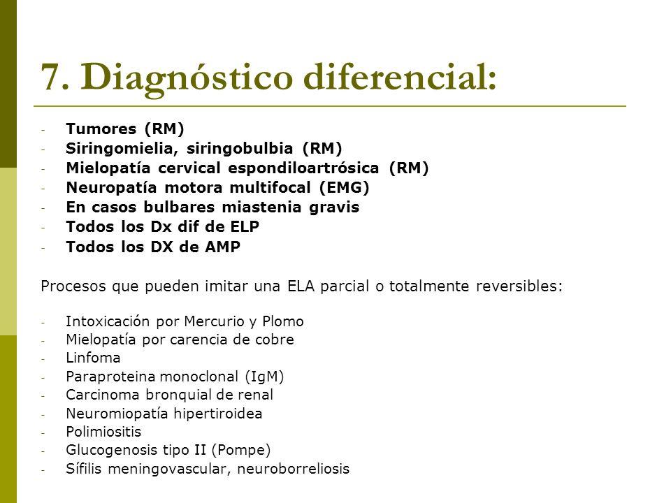 7. Diagnóstico diferencial: - Tumores (RM) - Siringomielia, siringobulbia (RM) - Mielopatía cervical espondiloartrósica (RM) - Neuropatía motora multi