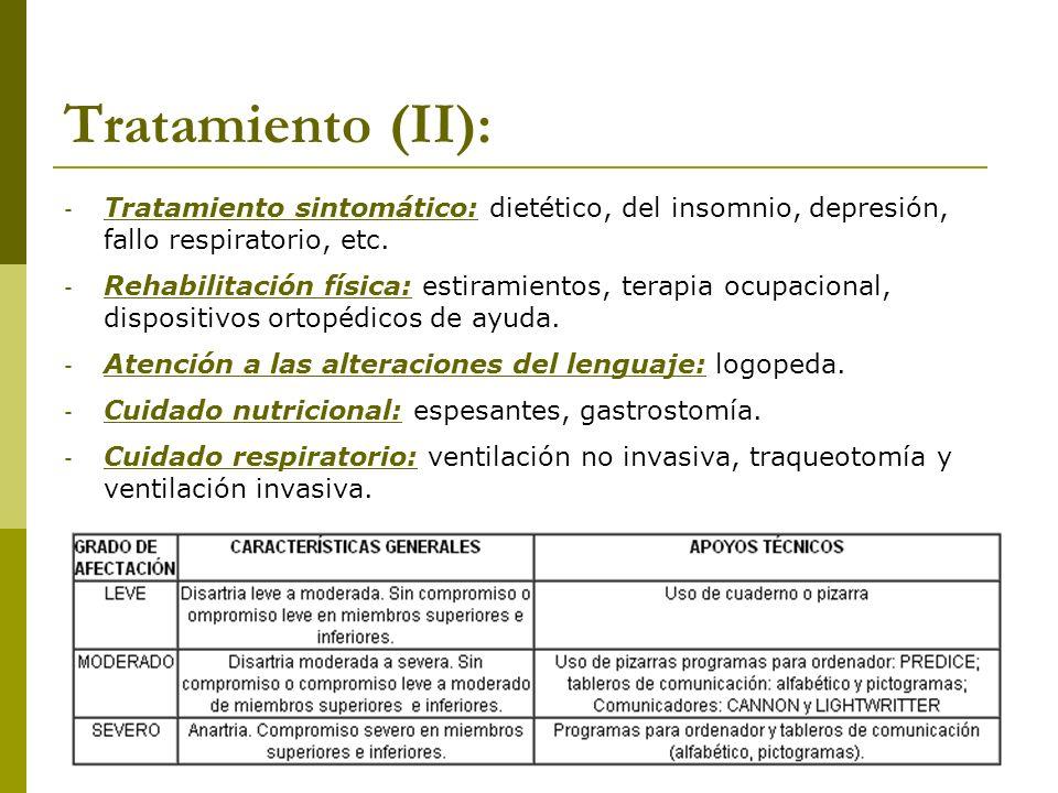 Tratamiento (II): - Tratamiento sintomático: dietético, del insomnio, depresión, fallo respiratorio, etc. - Rehabilitación física: estiramientos, tera