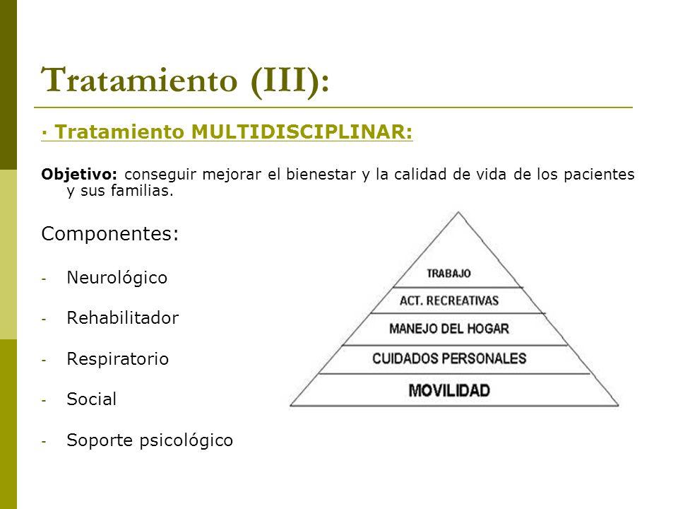 Tratamiento (III): · Tratamiento MULTIDISCIPLINAR: Objetivo: conseguir mejorar el bienestar y la calidad de vida de los pacientes y sus familias. Comp