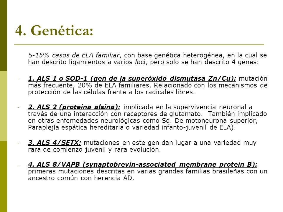 4. Genética: 5-15% casos de ELA familiar, con base genética heterogénea, en la cual se han descrito ligamientos a varios loci, pero solo se han descri