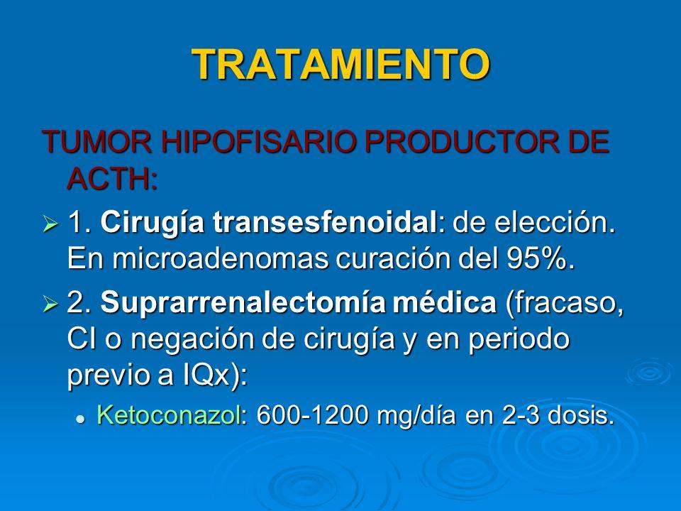 TRATAMIENTO TUMOR HIPOFISARIO PRODUCTOR DE ACTH: 1. Cirugía transesfenoidal: de elección. En microadenomas curación del 95%. 1. Cirugía transesfenoida