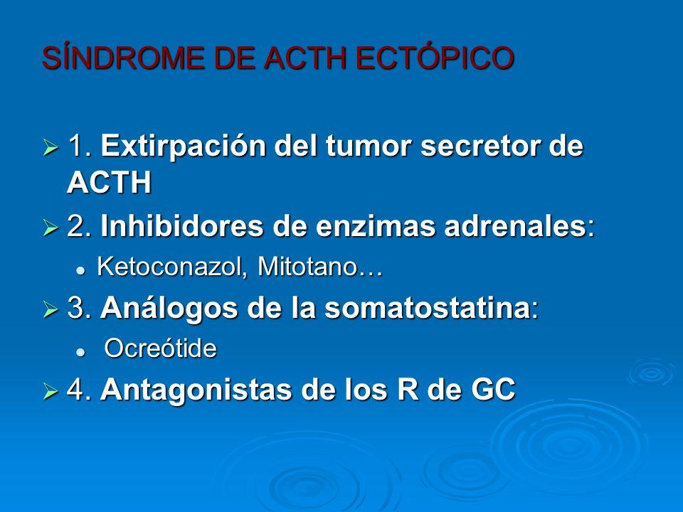 SÍNDROME DE ACTH ECTÓPICO 1. Extirpación del tumor secretor de ACTH 1. Extirpación del tumor secretor de ACTH 2. Inhibidores de enzimas adrenales: 2.