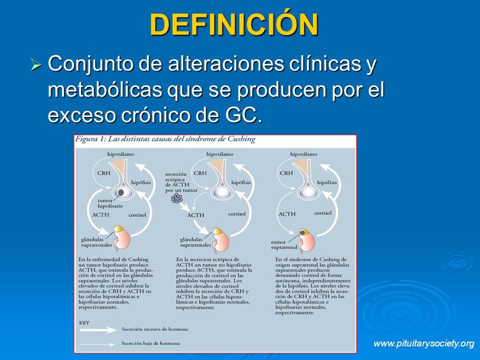 DEFINICIÓN Conjunto de alteraciones clínicas y metabólicas que se producen por el exceso crónico de GC. Conjunto de alteraciones clínicas y metabólica