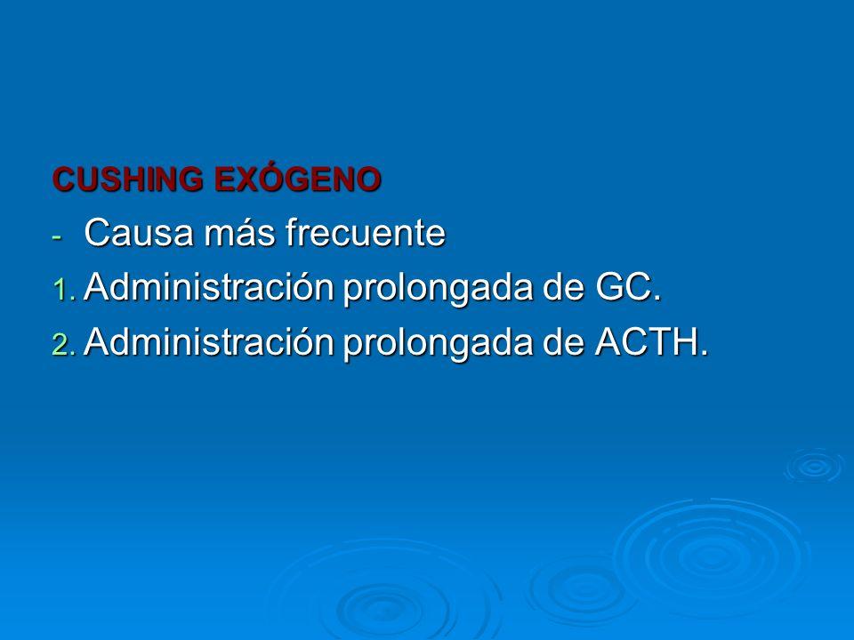 CUSHING EXÓGENO - Causa más frecuente 1. Administración prolongada de GC. 2. Administración prolongada de ACTH.