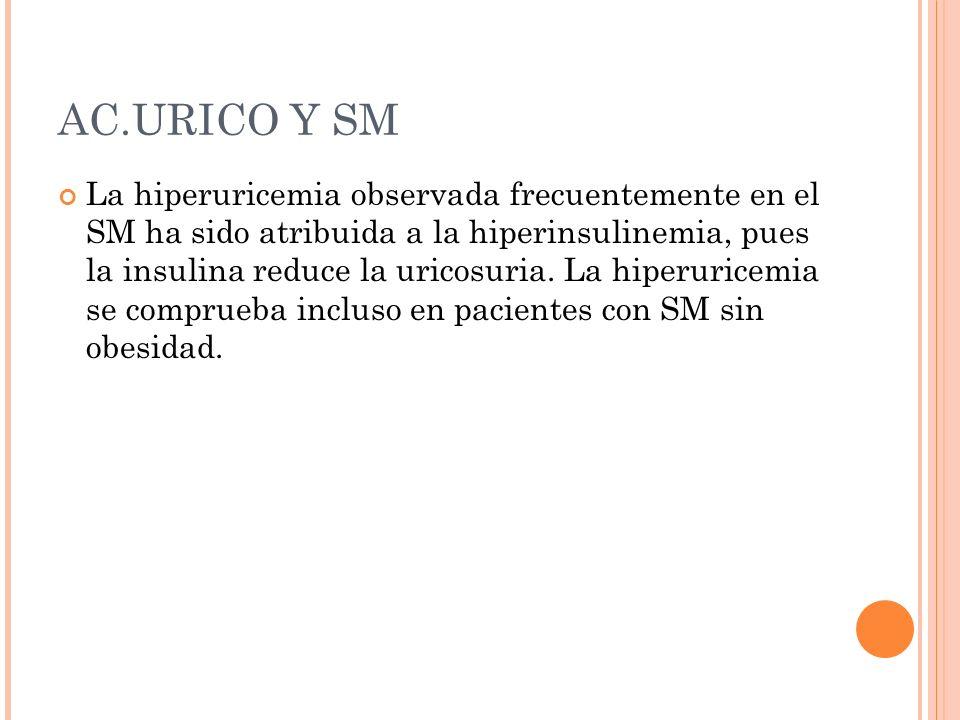 AC.URICO Y SM La hiperuricemia observada frecuentemente en el SM ha sido atribuida a la hiperinsulinemia, pues la insulina reduce la uricosuria. La hi