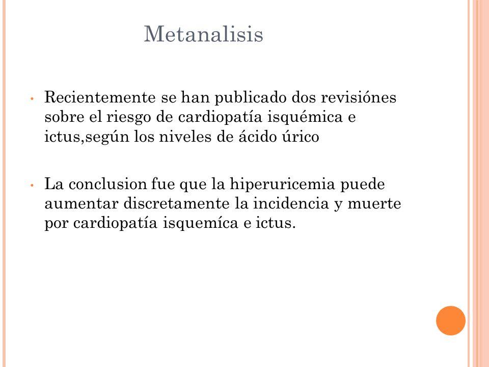 Metanalisis Recientemente se han publicado dos revisiónes sobre el riesgo de cardiopatía isquémica e ictus,según los niveles de ácido úrico La conclus