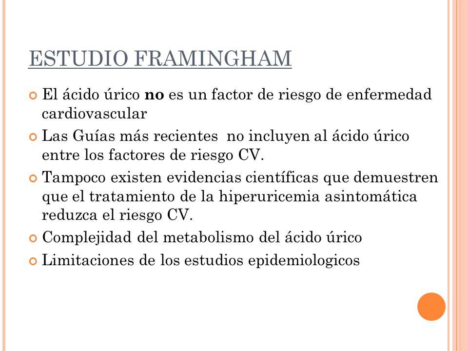 ESTUDIO FRAMINGHAM El ácido úrico no es un factor de riesgo de enfermedad cardiovascular Las Guías más recientes no incluyen al ácido úrico entre los