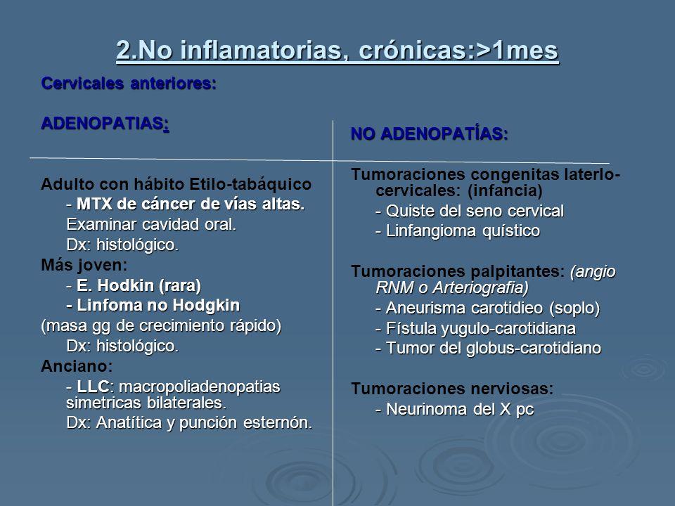 2.No inflamatorias, crónicas:>1mes Cervicales anteriores: ADENOPATIAS: Adulto con hábito Etilo-tabáquico - MTX de cáncer de vías altas. Examinar cavid