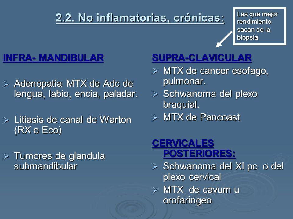2.2. No inflamatorias, crónicas: INFRA- MANDIBULAR Adenopatia MTX de Adc de lengua, labio, encia, paladar. Adenopatia MTX de Adc de lengua, labio, enc