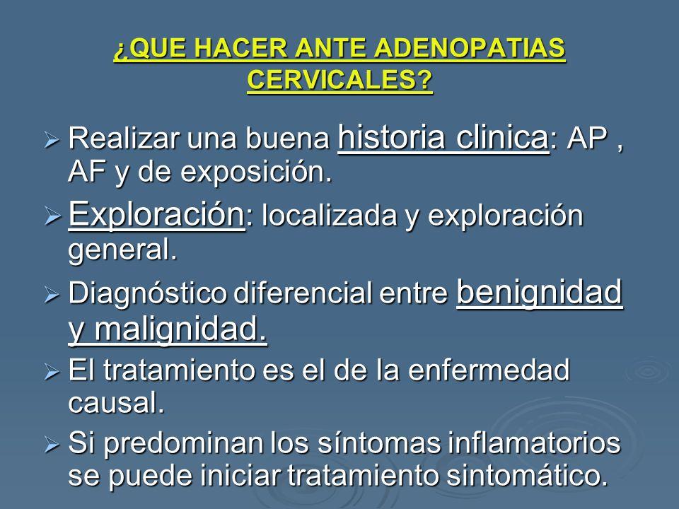 ¿QUE HACER ANTE ADENOPATIAS CERVICALES? Realizar una buena historia clinica : AP, AF y de exposición. Realizar una buena historia clinica : AP, AF y d