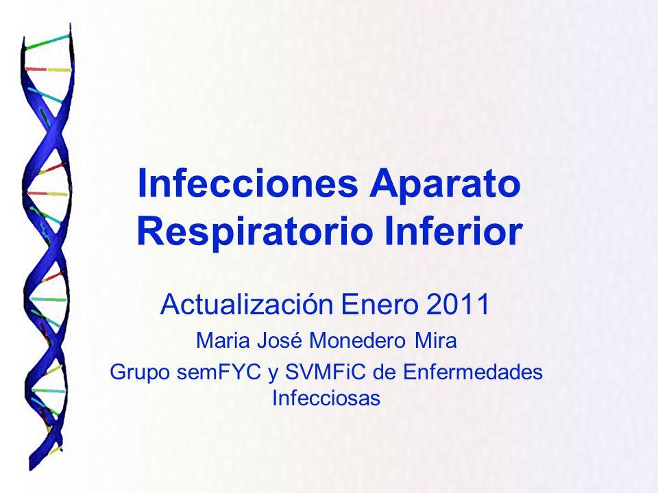 Infecciones Aparato Respiratorio Inferior Actualización Enero 2011 Maria José Monedero Mira Grupo semFYC y SVMFiC de Enfermedades Infecciosas