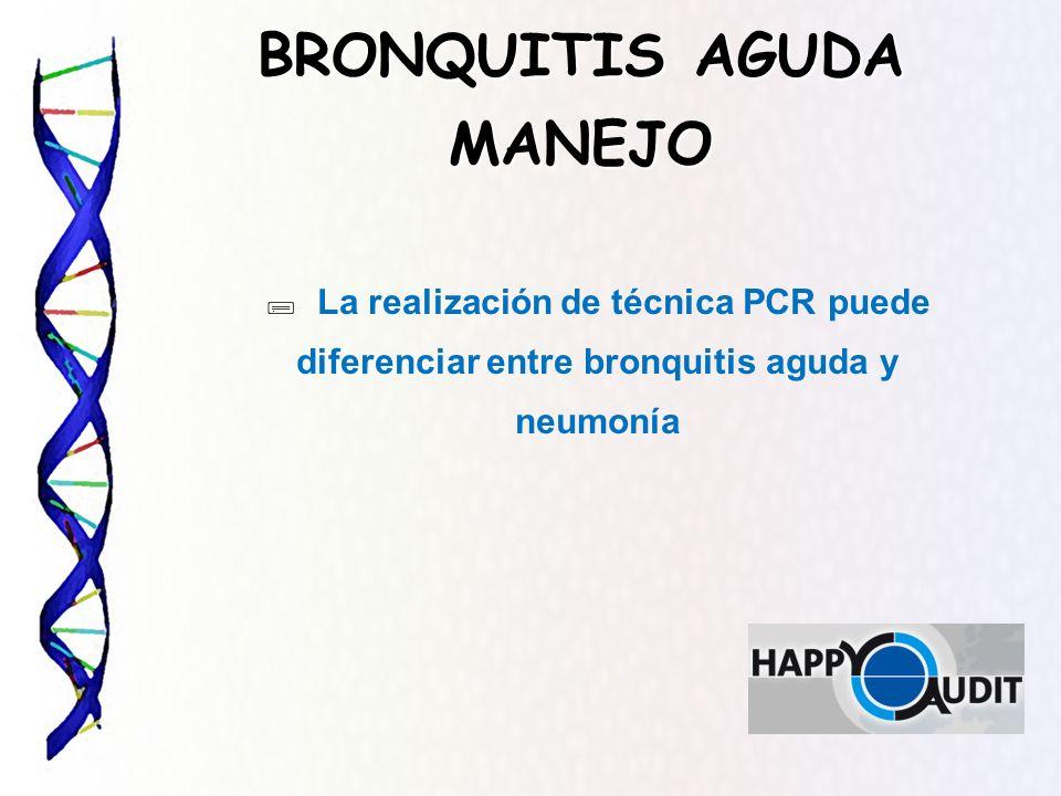 BRONQUITIS AGUDA MANEJO La realización de técnica PCR puede diferenciar entre bronquitis aguda y neumonía