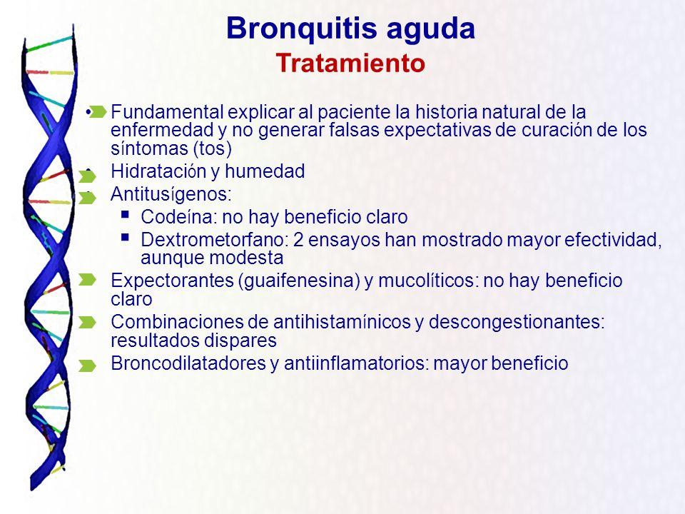 Fundamental explicar al paciente la historia natural de la enfermedad y no generar falsas expectativas de curaci ó n de los s í ntomas (tos) Hidrataci
