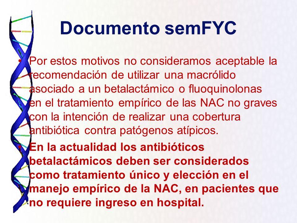Documento semFYC Por estos motivos no consideramos aceptable la recomendación de utilizar una macrólido asociado a un betalactámico o fluoquinolonas e