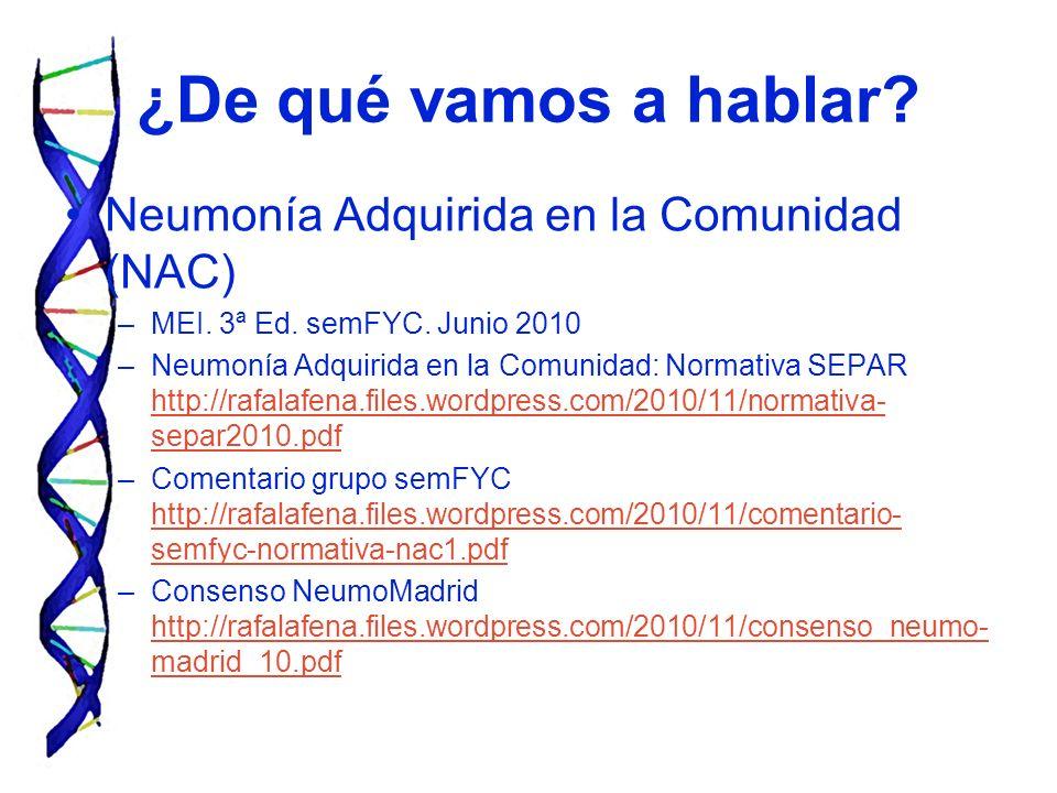 ¿De qué vamos a hablar? Neumonía Adquirida en la Comunidad (NAC) –MEI. 3ª Ed. semFYC. Junio 2010 –Neumonía Adquirida en la Comunidad: Normativa SEPAR