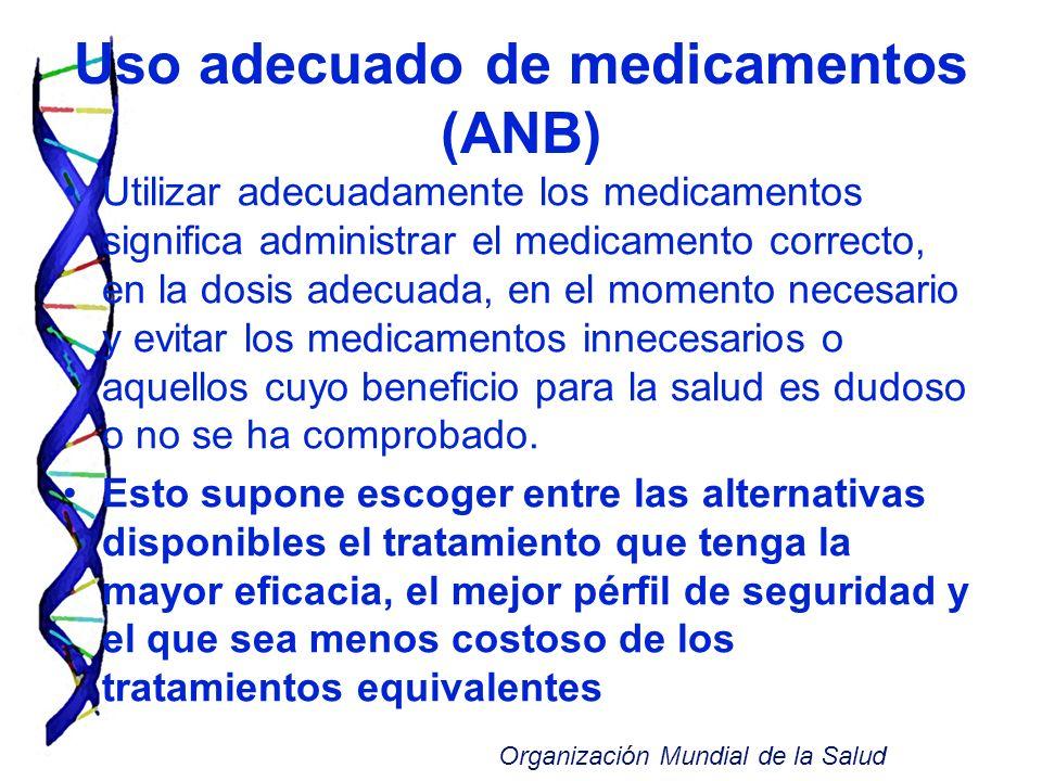 Uso adecuado de medicamentos (ANB) Utilizar adecuadamente los medicamentos significa administrar el medicamento correcto, en la dosis adecuada, en el