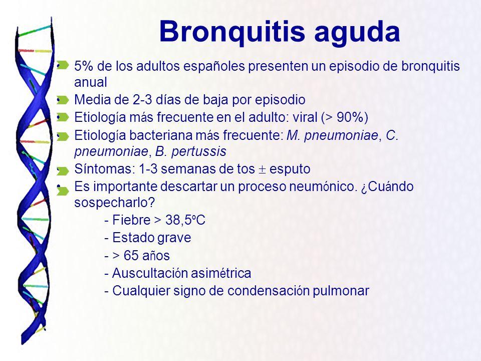 5% de los adultos españoles presenten un episodio de bronquitis anual Media de 2-3 días de baja por episodio Etiolog í a m á s frecuente en el adulto: