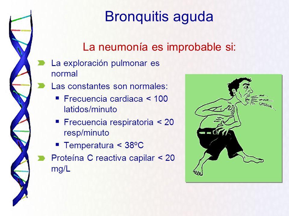 La exploración pulmonar es normal Las constantes son normales: Frecuencia cardiaca < 100 latidos/minuto Frecuencia respiratoria < 20 resp/minuto Tempe