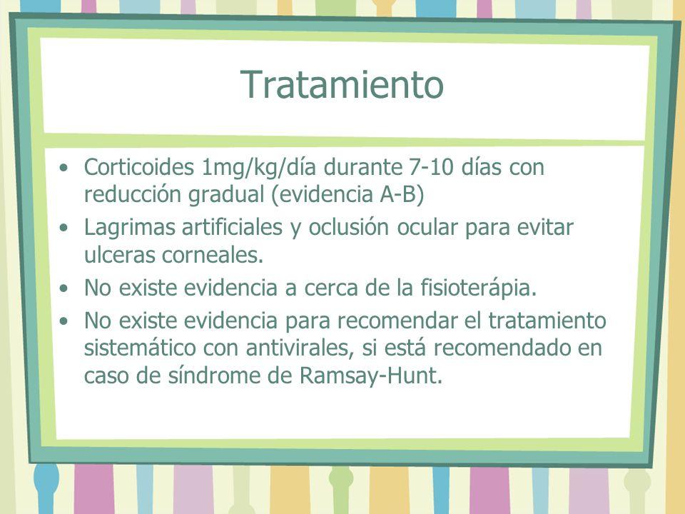 Tratamiento Corticoides 1mg/kg/día durante 7-10 días con reducción gradual (evidencia A-B) Lagrimas artificiales y oclusión ocular para evitar ulceras