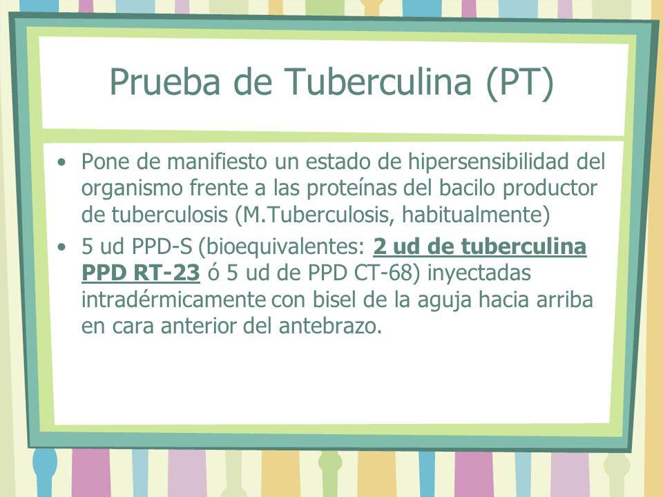 Prueba de Tuberculina (PT) Pone de manifiesto un estado de hipersensibilidad del organismo frente a las proteínas del bacilo productor de tuberculosis
